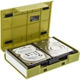 """Deltaco Hårdplastfodral för 1x3,5"""" eller 4x2,5"""" SATA-hårddiskar, grön"""
