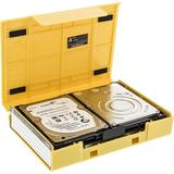 """Deltaco Hårdplastfodral för 1x3,5"""" eller 4x2,5"""" SATA-hårddiskar, gul"""