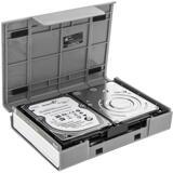 """Deltaco Hårdplastfodral för 1x3,5"""" eller 4x2,5"""" SATA-hårddiskar, grå"""