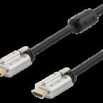 Deltaco HDMI-kabel, låsbar, 5m, 4K, 3D, svart