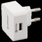 Orico USB-väggladdare med Quick Charge 3.0, 18W max, 3A, 1xUSB Typ A, 100-240V DC input, vit