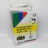 Gelia Ledningshållare i plast med stålspik, 3-5mm, 100-pack, vit