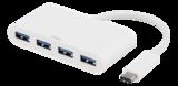 Deltaco USB 3.1 Gen 1-hubb, USB-C hane till 4xUSB Typ A hona, 5Gbps, vit