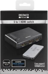 Deltaco Prime HDMI-Switch, 5 ingångar till 1 utgång, svart