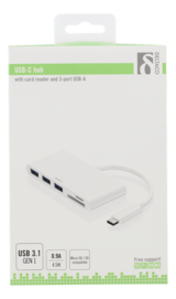 Deltaco USB 3.1 Gen 1-hubb, USB-C ha till 3xUSB Typ A ho, SD/microSD-kortläsare,vit
