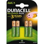Duracell Recharge Plus, laddningsbara batterier, AAA, Ni-MH, 1300mAh, 1,2V, 4-pack