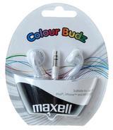 Maxell Colour Budz öronsnäckor, 1,2m kabel, vit