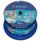 Verbatim CD-R 52x, Wide Inkjet Printable - no ID, 50-pack