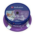 Verbatim DVD+R 16x, Wide Inkjet Printable ID Brand 25 pack