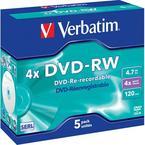 Verbatim DVD-RW 4x, 5 pack