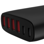 Winstar USB-laddningsstation, 100-240V till 5V USB, 12A, 2xUSB Typ C, 4xUSB Typ A-portar, 60W, svart