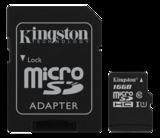 Kingston minneskort, UHS-I microSDHC, Class 10, 16GB
