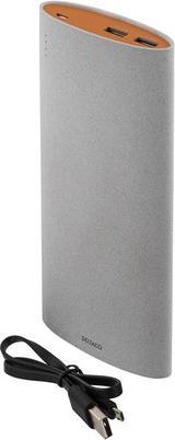 Deltaco Powerbank, portabelt batteri för laddning av mobila enheter, grå/orange