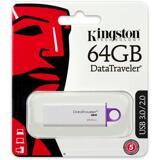 Kingston DataTraveler G4, USB 3.0 minne, 64GB, vit/lila