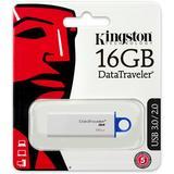 Kingston DataTraveler G4, USB 3.0 minne, 16GB, vit/blå