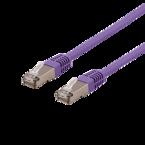 Deltaco U/FTP Cat6a patchkabel, 0,5m, 500MHz, Delta-certifierad, LSZH, lila