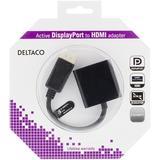 Deltaco DisplayPort till HDMI-adapter med ljud, guldpläterad, 4K, 0,2m, svart