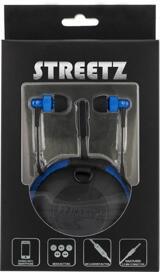 STREETZ in-ear hörlurar med mikrofon, svarsknapp, trasselfri, 1,2m kabel, svart/blå
