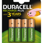 Duracell Recharge Plus, laddningsbara batterier, AA (LR06), Ni-MH, 1300mAh, 1,2V, 4-pack