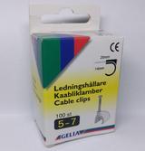 Gelia Ledningshållare i plast med stålspik, 5-7mm, 100-pack, vit