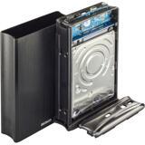 """Deltaco externt RAID-kabinett för 2x2,5"""" SATA-hårddiskar, USB 3.0, aluminium/plast, svart"""
