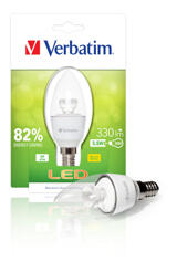 Verbatim LED Candle Clear, LED-lampa, E14, varmvitt ljus, 5,5W