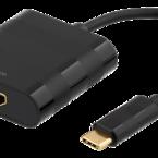 Deltaco USB 3.1 till HDMI adapter, USB typ C hane - HDMI 19-pin hona