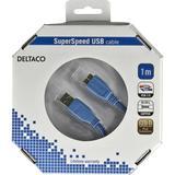 Deltaco USB 3.0 kabel, Typ A ha - Typ Micro B ha, guldplätterade kontakter, 1m, blå
