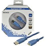 Deltaco USB 3.0 kabel, Typ A ha - Typ Micro B ha, guldplätterade kontakter, 2m, blå