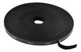 Deltaco kardborrband på rulle, bredd 10mm, 15m, svart