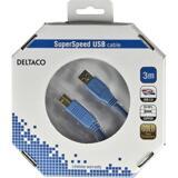 Deltaco USB 3.0 kabel, Typ A ha - Typ B ha, guldplätterade kontakter, 3m, blå
