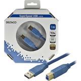 Deltaco USB 3.0 kabel, Typ A ha - Typ B ha, guldplätterade kontakter,1m, blå