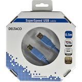 Deltaco USB 3.0 kabel, Typ A ha - Typ B ha, guldplätterade kontakter, 0,5m, blå