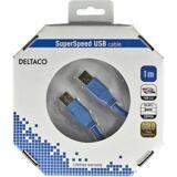 Deltaco USB 3.0 kabel, Typ A ha - Typ A ha, guldplätterade kontakter, 1m, blå
