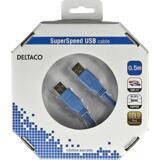 Deltaco USB 3.0 kabel, Typ A ha - Typ A ha, guldplätterade kontakter, 0,5m, blå