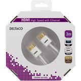 Deltaco tunn HDMI-kabel, 3m, 4K, 3D, vit