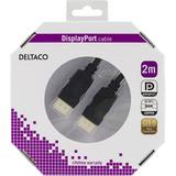 Deltaco DisplayPort monitorkabel, 2m, svart, retail