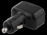 Deltaco billaddare, 4,8A, 2xUSB Typ A hona, 12-24V DC input, svart