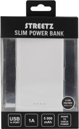 STREETZ Powerbank, 5000mAh, Li-Ion, USB 5V 1A, vit